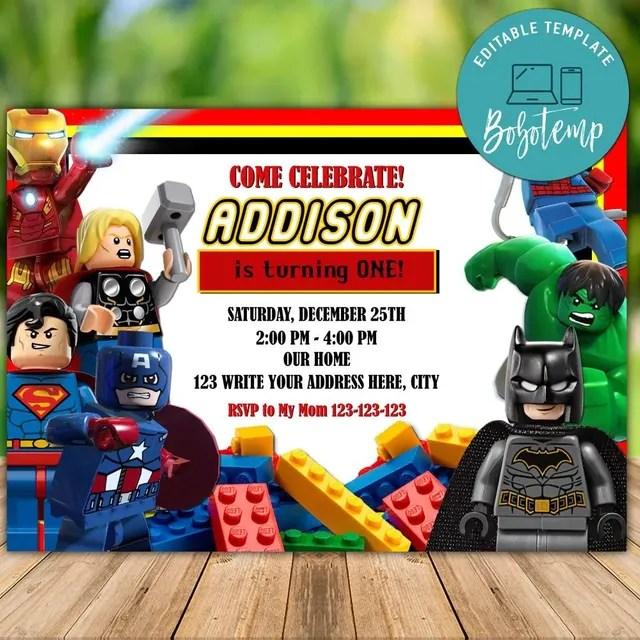 editable lego marvel superheroes birthday invitation diy