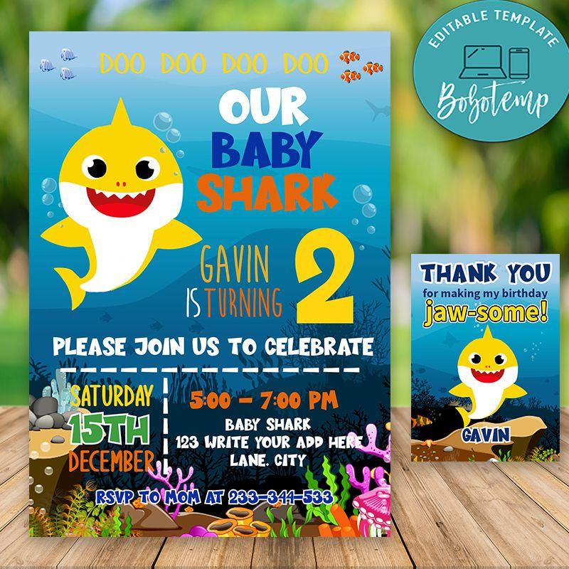 Editable Baby Shark Birthday Invitations For Boy Instant Download Bobotemp