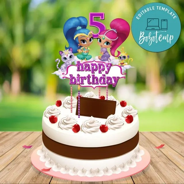 Shimmer And Shine Birthday Cake Topper Template Printable Diy Bobotemp