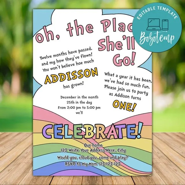 printable oh the places you ll go birthday invite wording diy