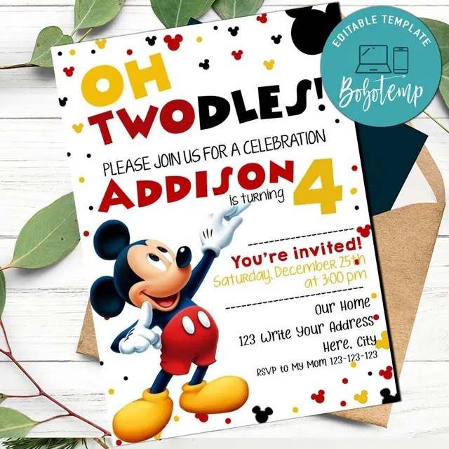 oh twodles mickey mouse birthday invitation printable diy