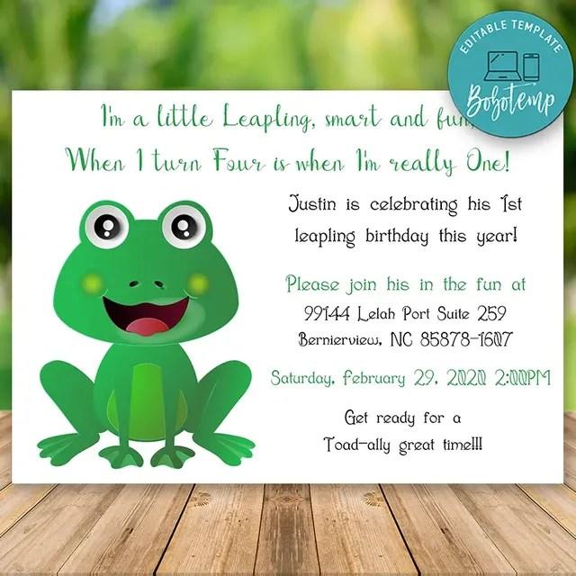 editable leapling leap year 1st birthday invitation diy
