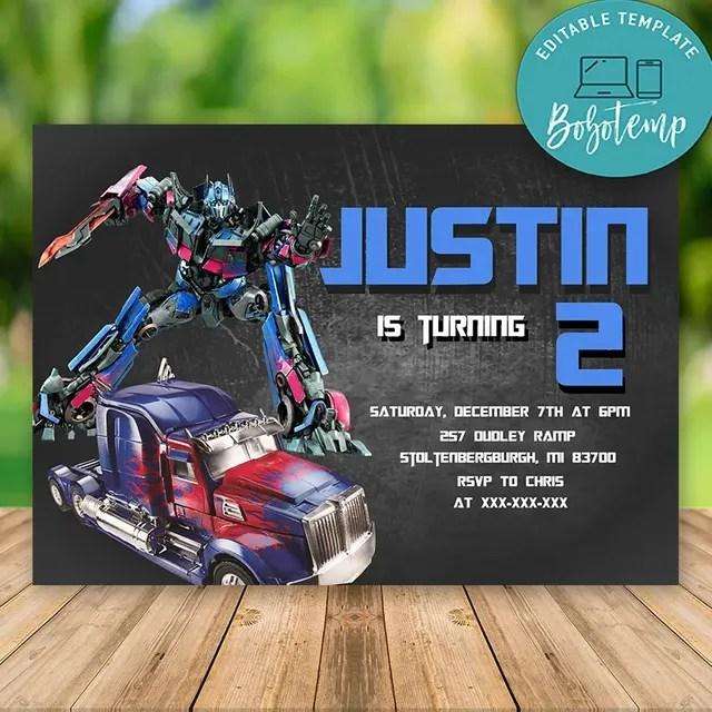 editable optimus prime transformers party invitation digital file