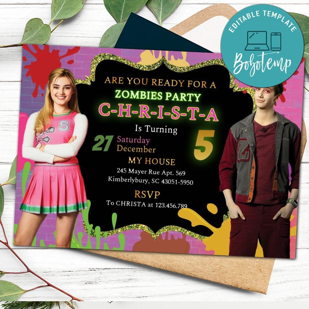 editable disney zombies 2 party invitation instant download