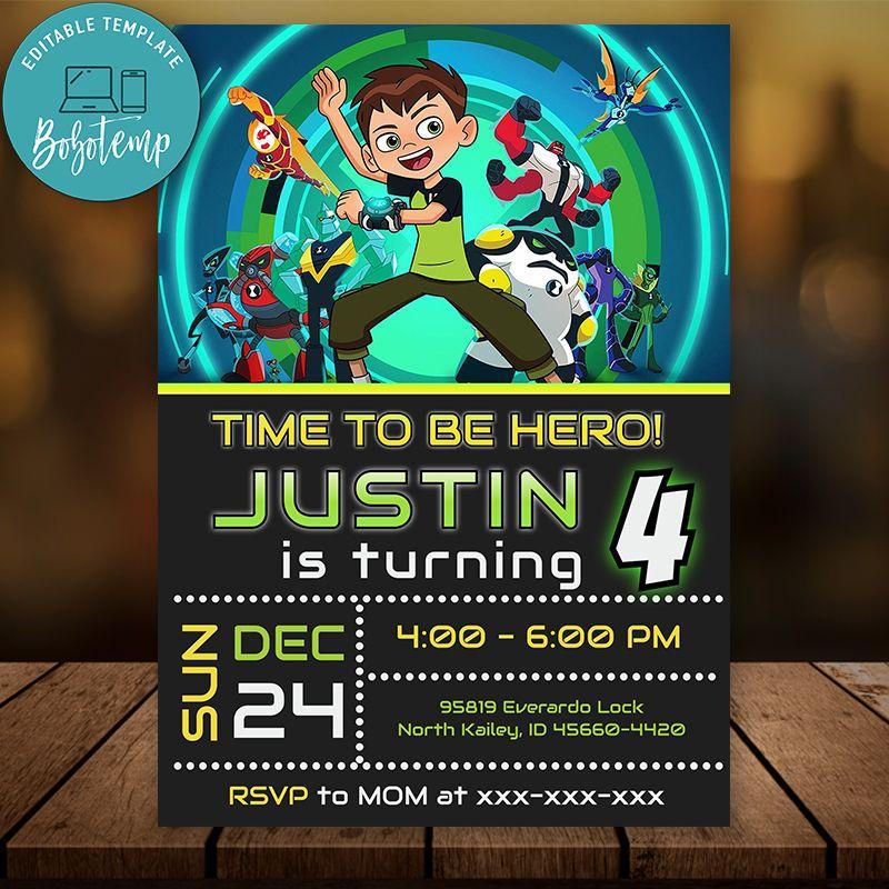 editable ben 10 birthday invitation instant download
