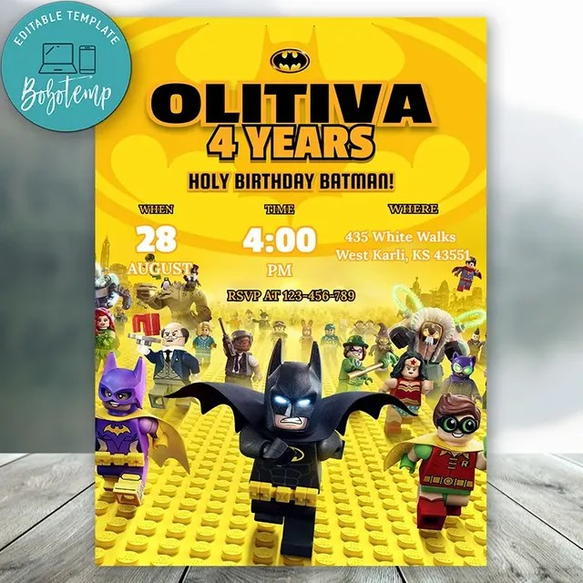 editable batman lego birthday invitations instant download