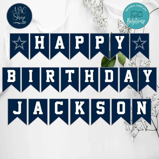 Printable Dallas Cowboys Birthday Banner Instant Download Bobotemp