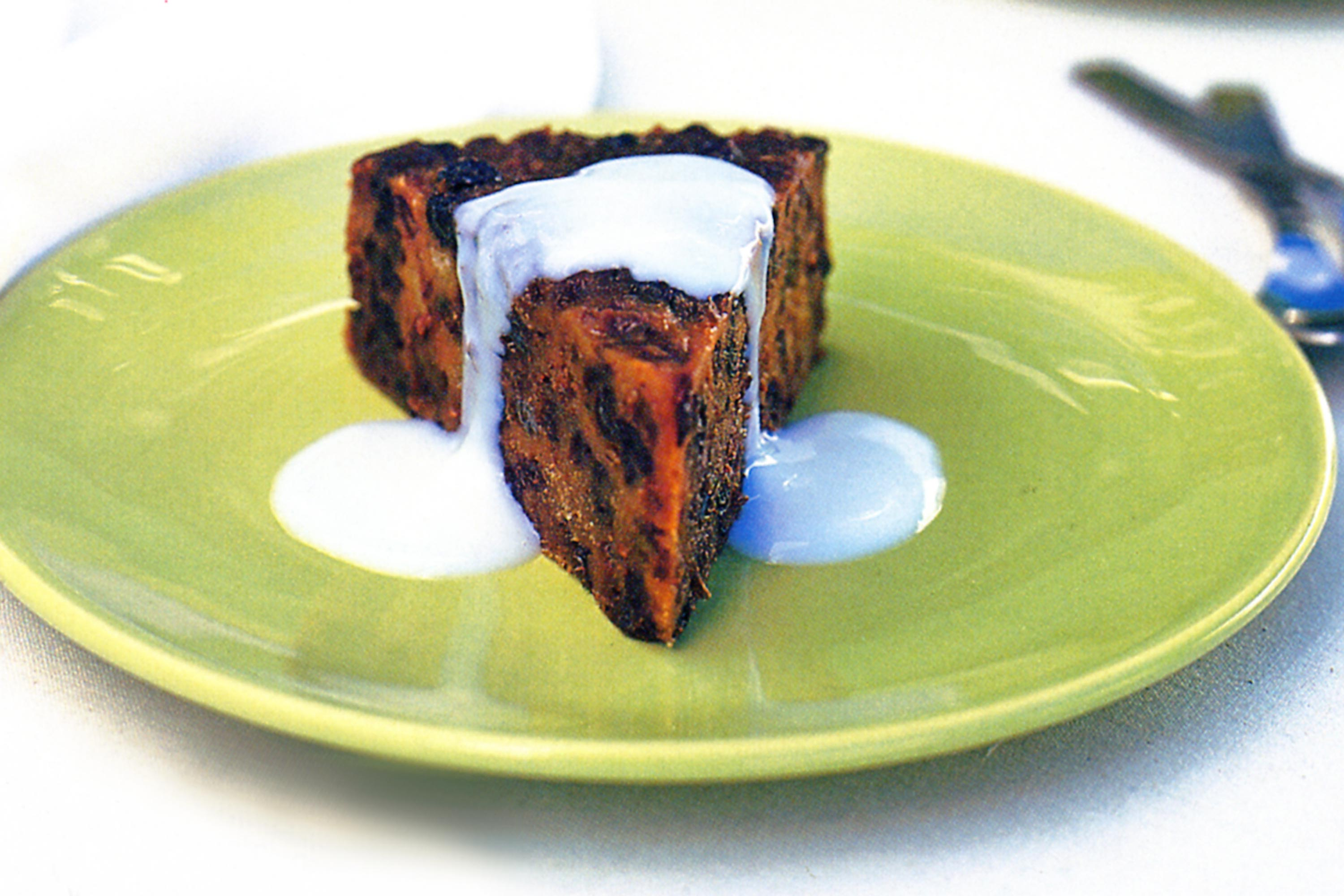 Semolina christmas pudding with sherry custard