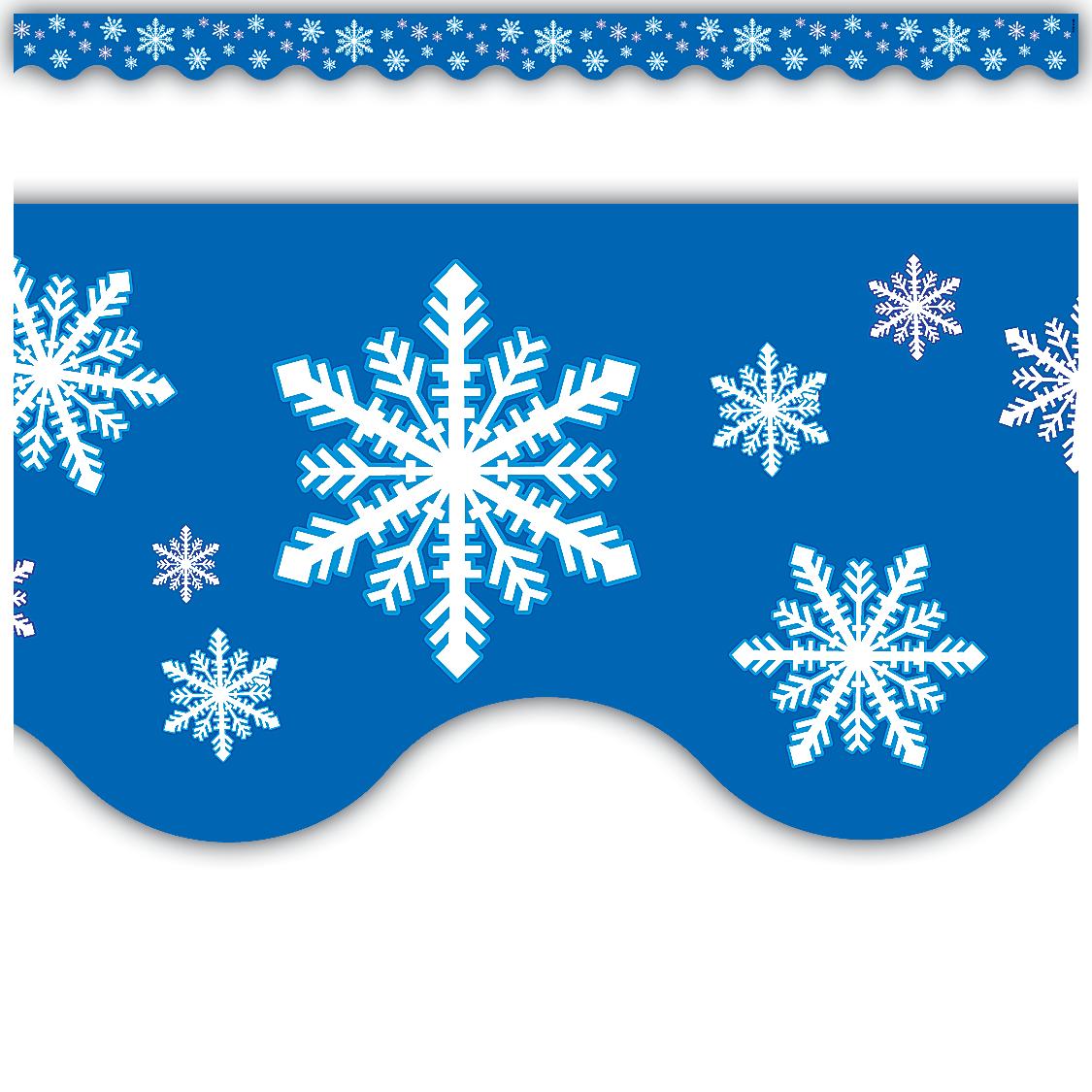 Snowflakes Scalloped Border Trim TCR4139 Teacher