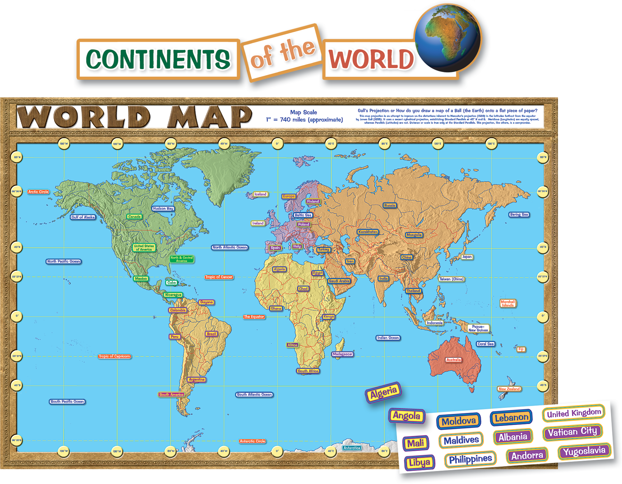 World Map Repositionable Bulletin Board Display Set