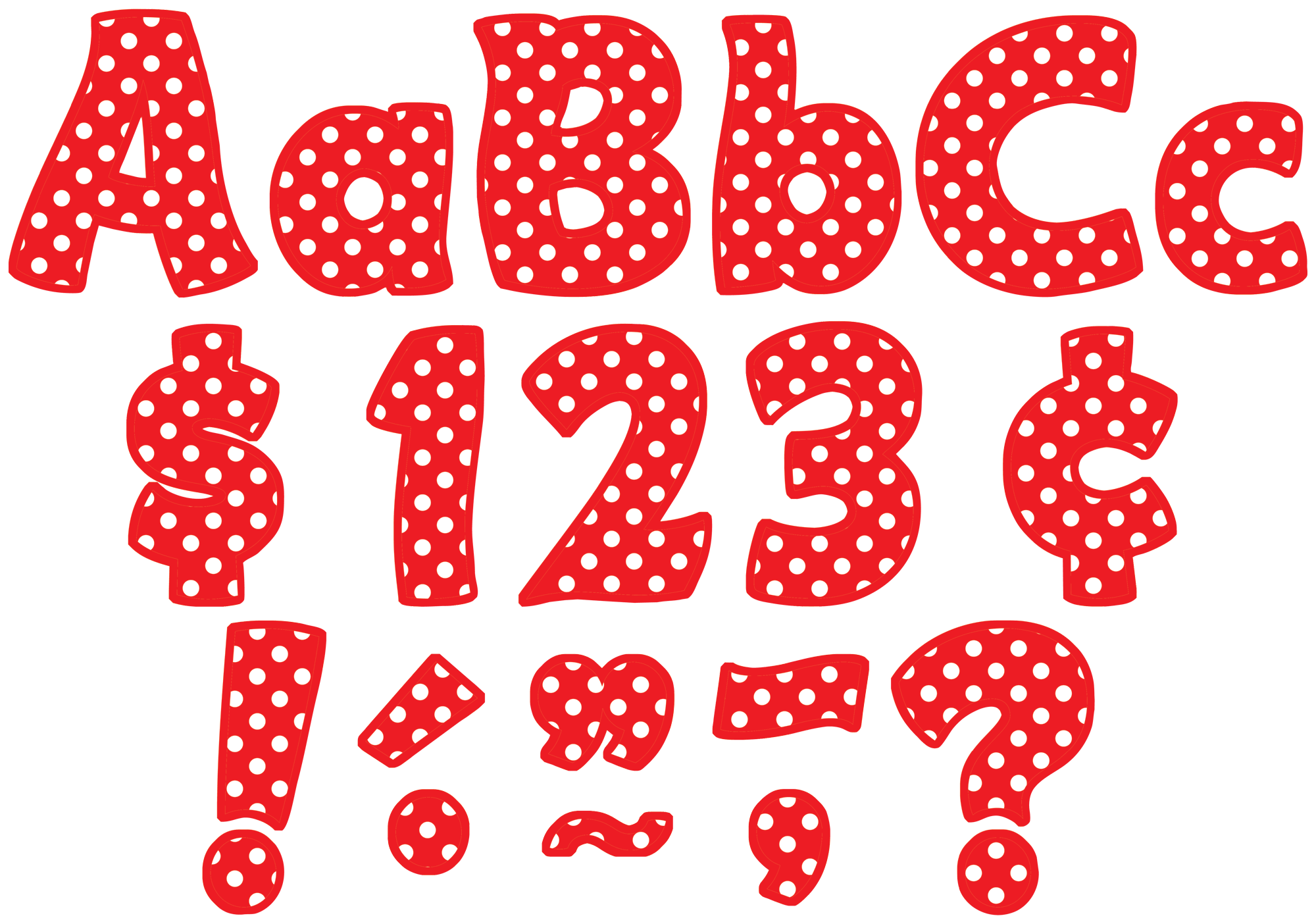 Red Polka Dots Funtastic 4 Letters Combo Pack