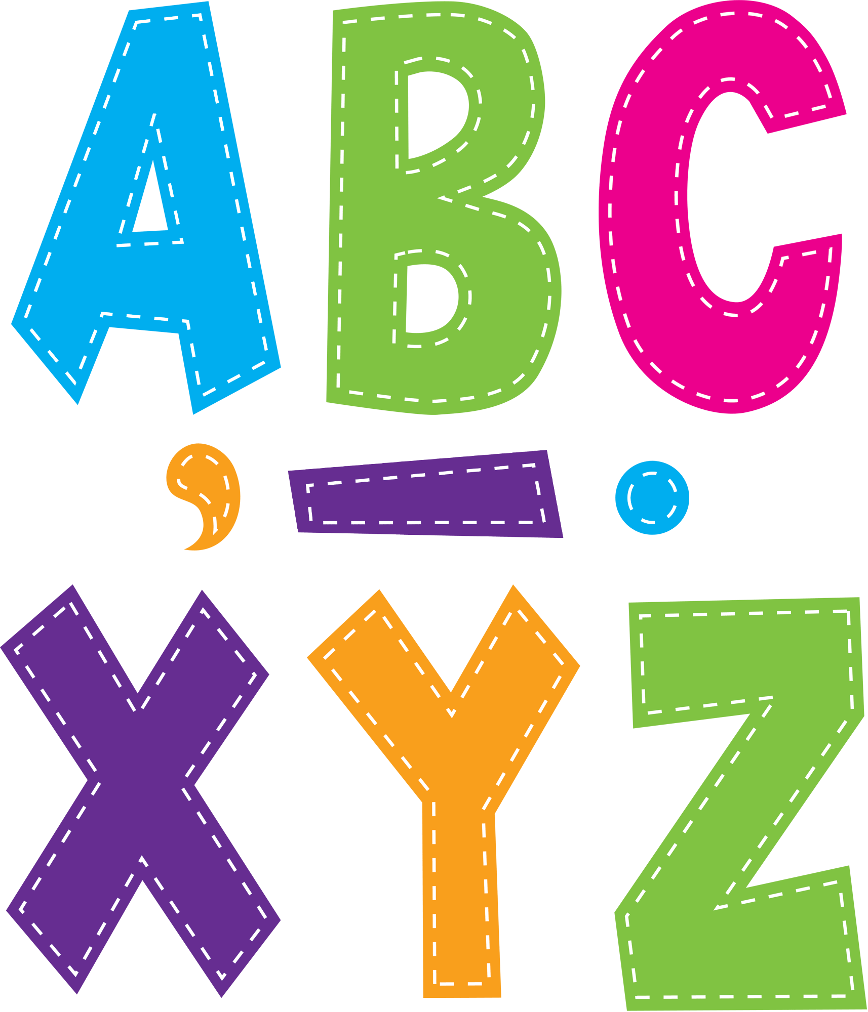 Multi Bright Stitch 7 Fun Font Letters TCR77281 Teacher Created Resources