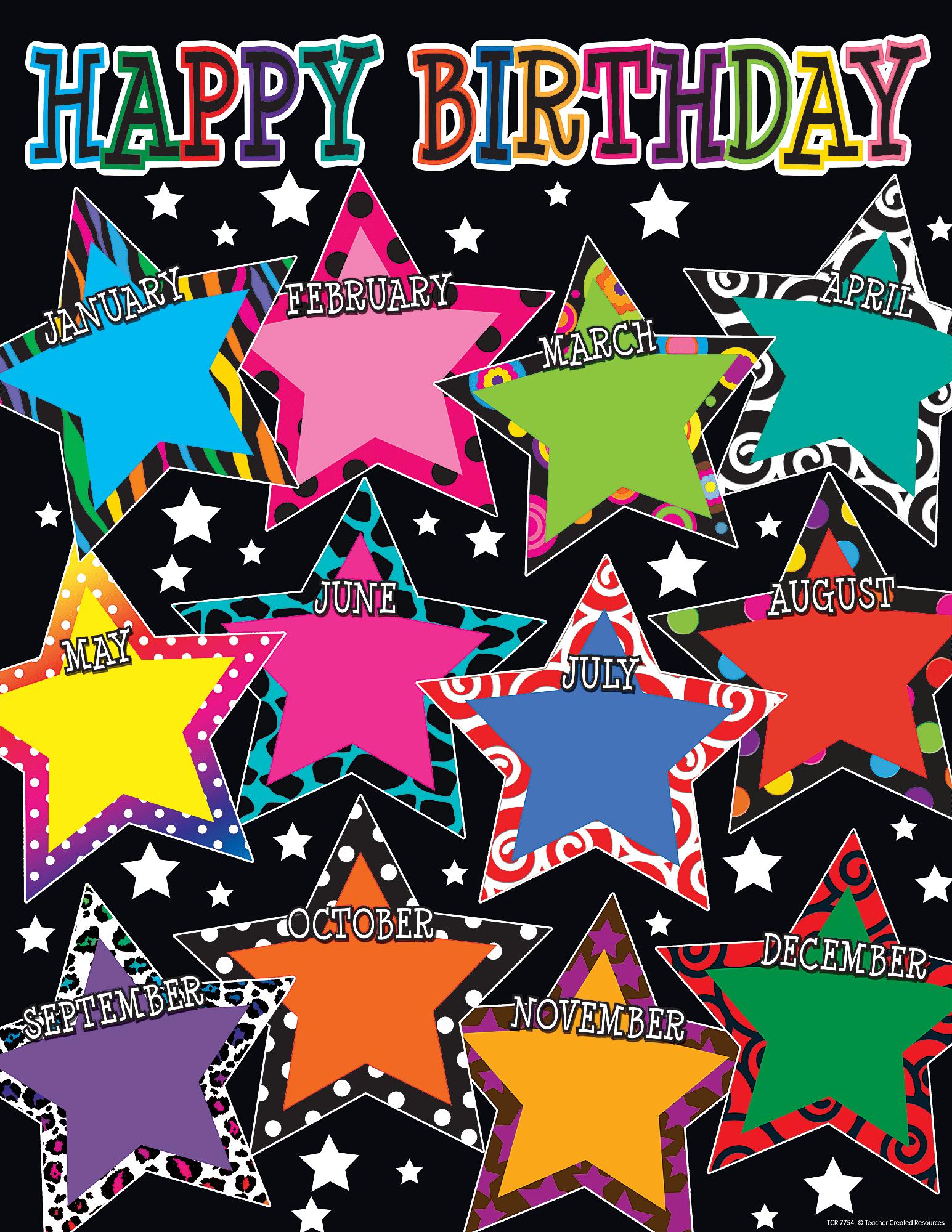Fancy Stars Happy Birthday Chart