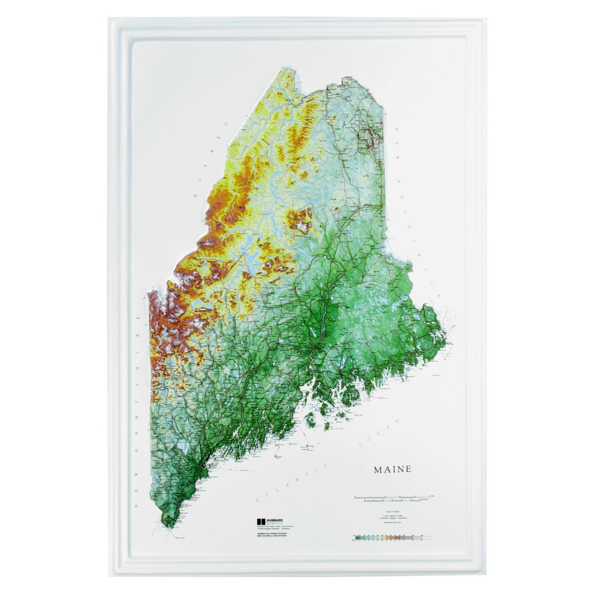 Hubbard Scientific Raised Relief Map Maine State