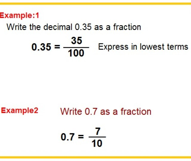 Decimals To Fraction