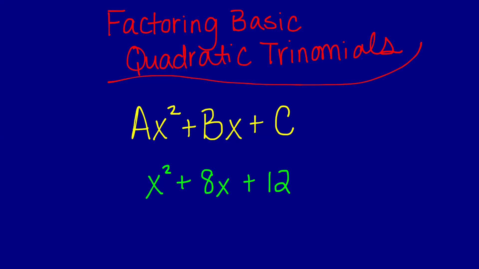Factoring Basic Quadratic Trinomials