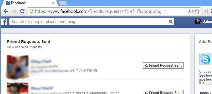 List of facebook pending friend requests