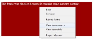 Right click on the blocked frame and click View frame source