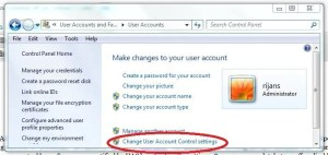 Turn off or on user account control setting on windows 7 vista