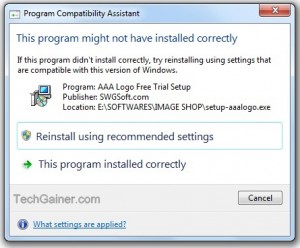 Program compatibility assistant :This program might not have installed correctly