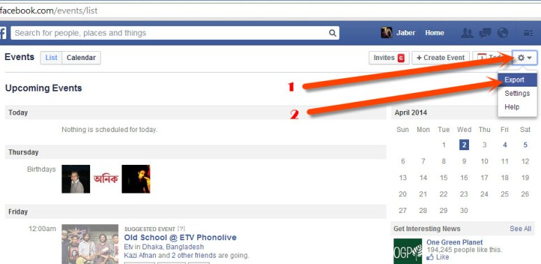 Export Facebook Events