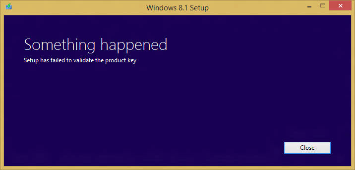 Windows 8.1 Failed to validate product key
