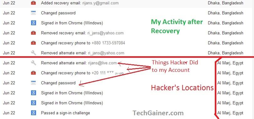 My Google Account Hack History