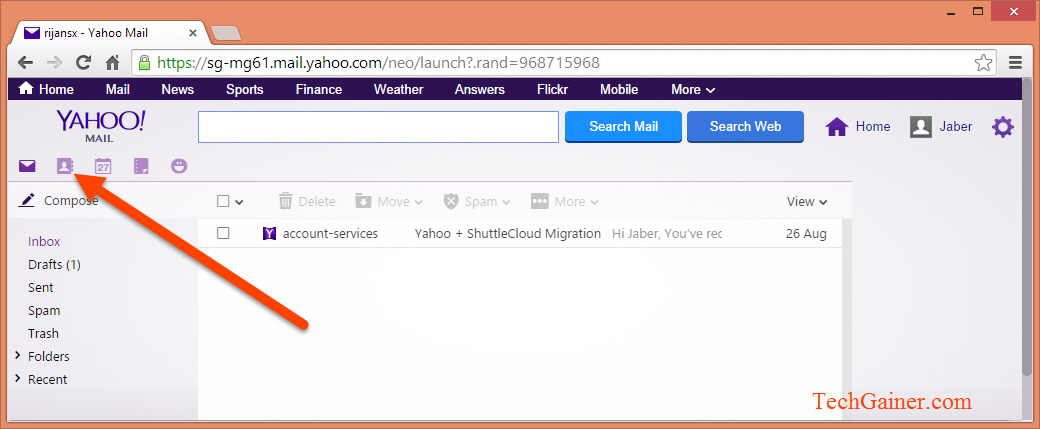 Click contacts in Yahoo Mail