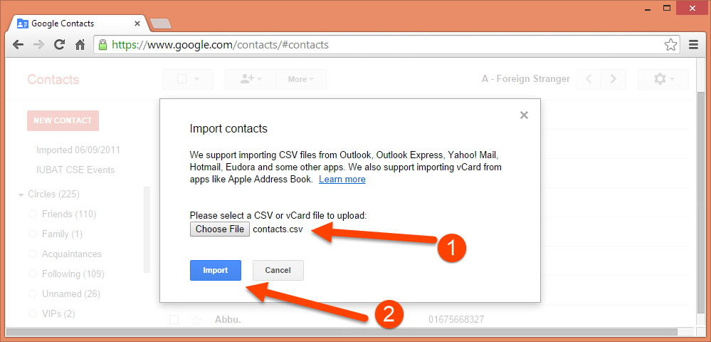 Import contacts csv file to Google