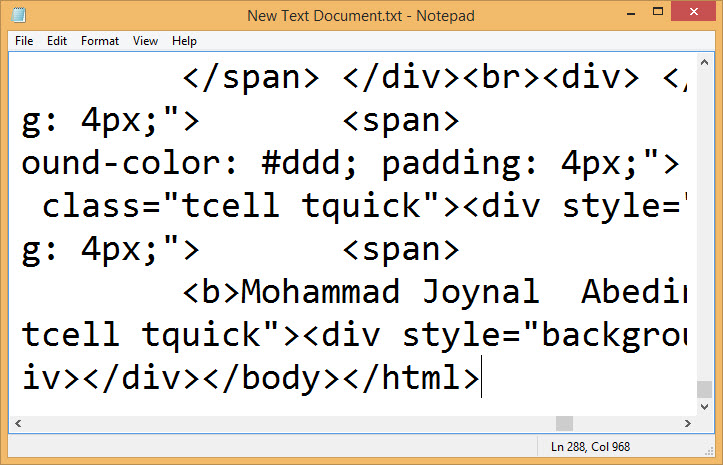Paste html source code in text document