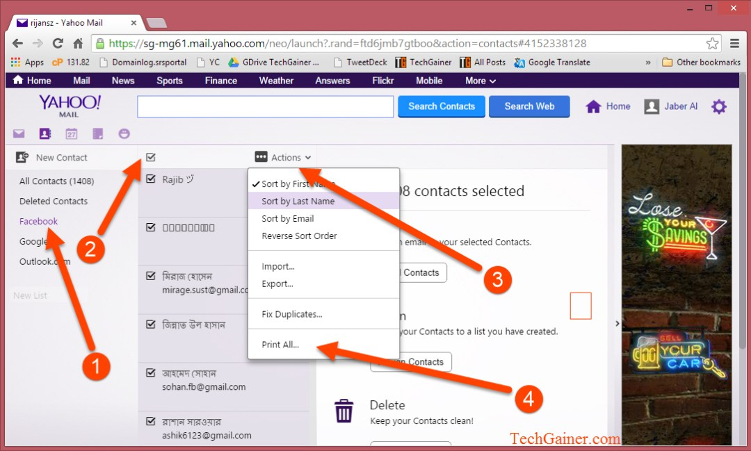 Print Yahoo contacts
