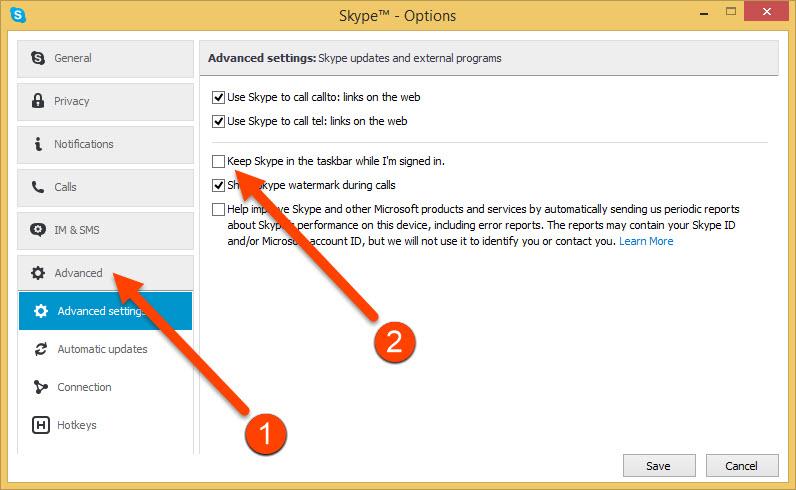 Skype Advanced Settings