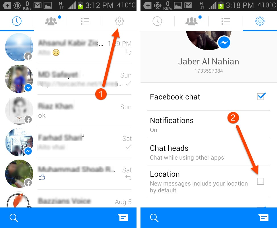 Turn off location sharing in Facebook Messenger