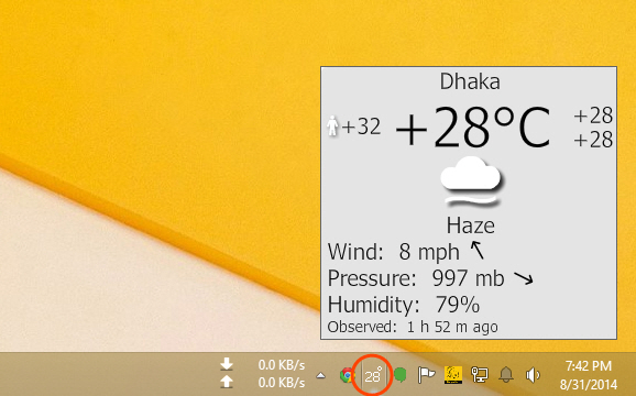 Weather details on mouse hover