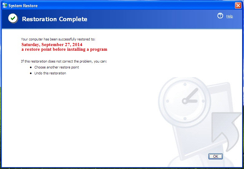 Restore completion message in XP