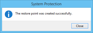 Restore point creation message