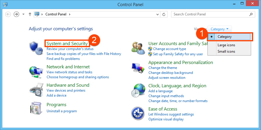 System and Security in control panel