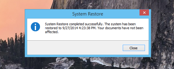 Restore success message