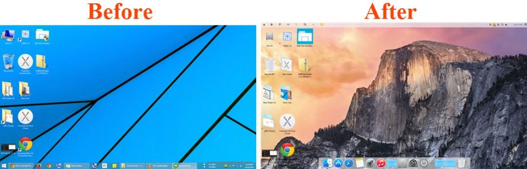 Before and applying OS X Yosemite Theme