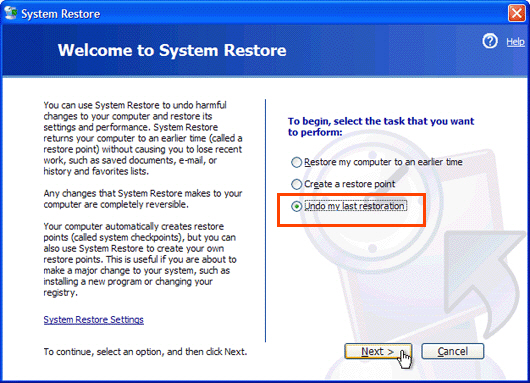 Undo System Restore on Windows XP