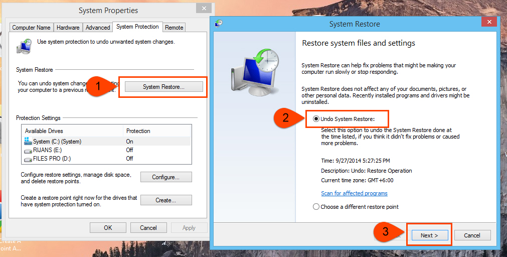 Undo system restore in windows 7, 8 and Vista