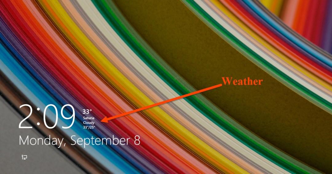 Weather on Windows 8 lock screen