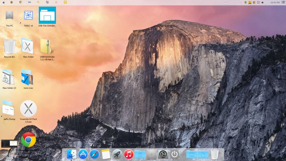 Windows running with Mac Yosemite theme