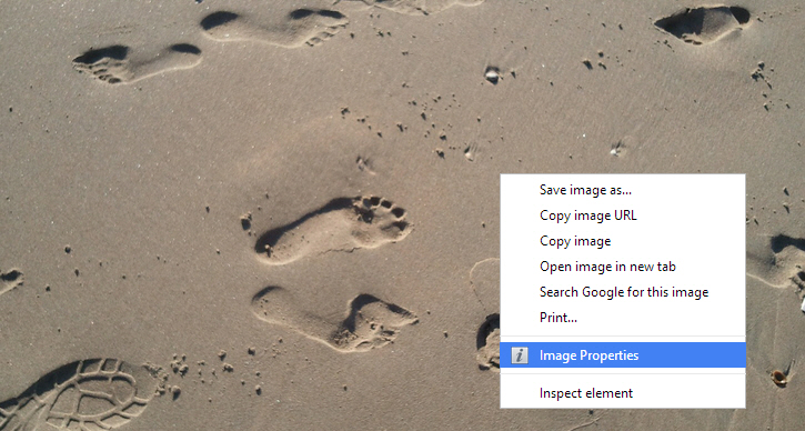 View Image Properties Right from Chrome Right-click Context Menu