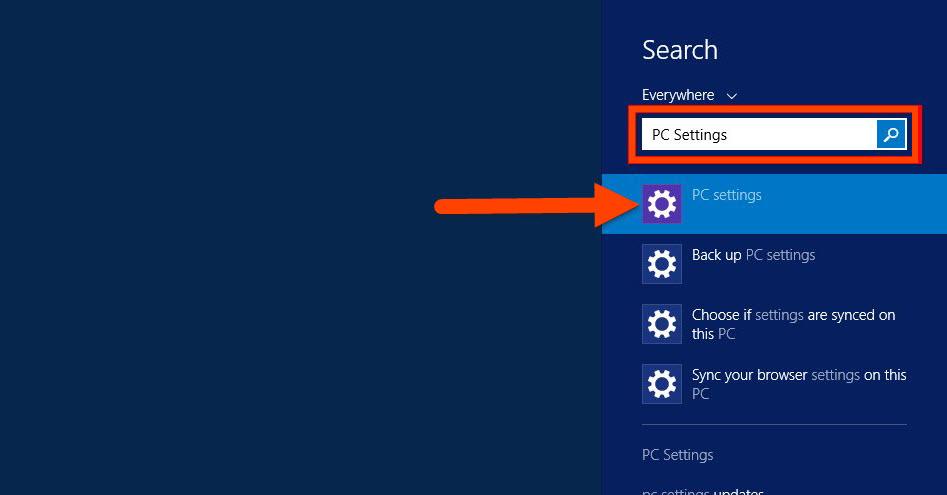 Search Windows PC Settings
