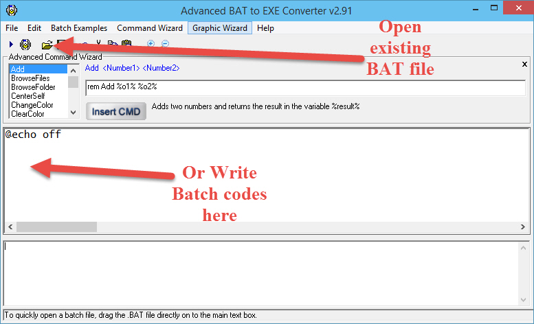 Write or load batch codes