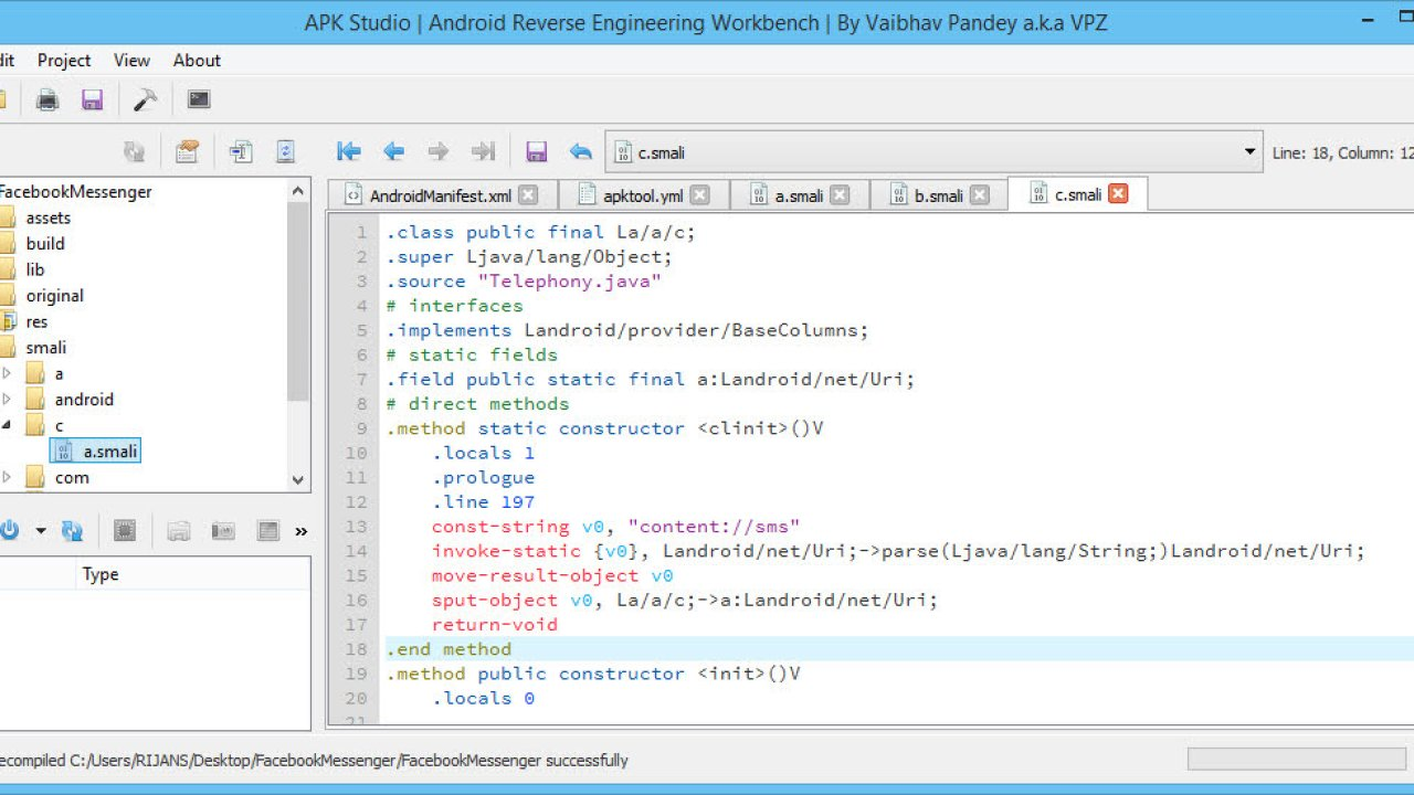 Decompile, Edit and Recompile APK files with APK Studio on Windows