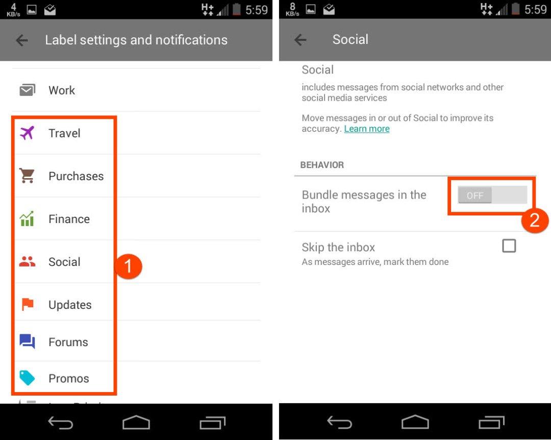 Disable bundling emails on Inbox app