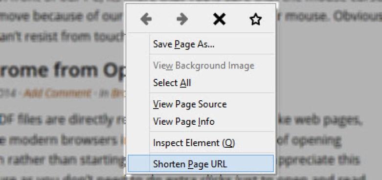 Firefox right click URL shortener