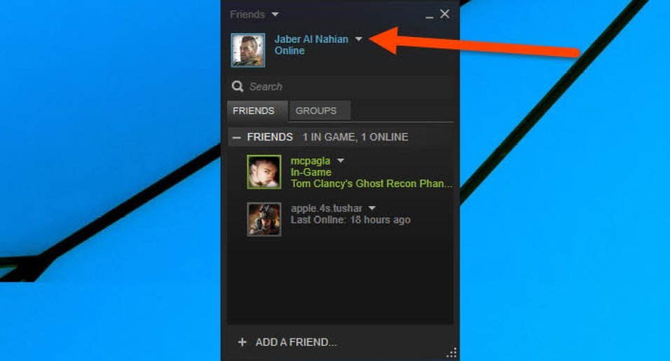how to change status on steam